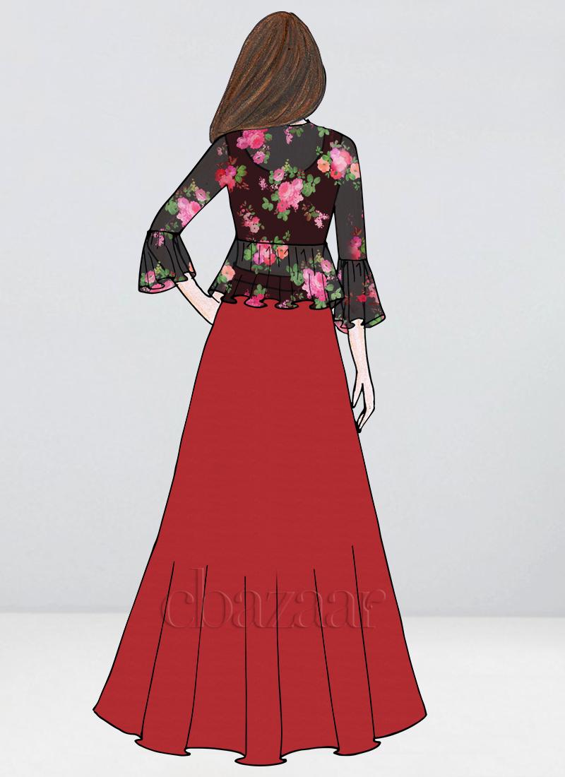 36d649cdeae0de Buy Bollywood Vogue Custom Made Red Crop Top N Skirt