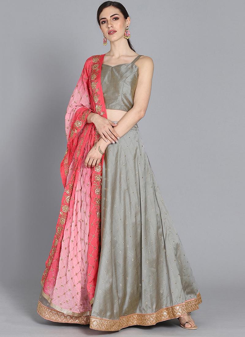 0e6555f4fb Buy Bollywood Vogue Customised Grey Lehenga Choli, Wedding, umbrella ...