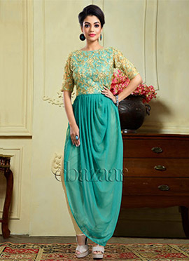 Bollywood Vogue Draped Kameez With Straight Pant
