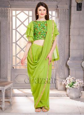 Bollywood Vogue Draped Sari N Embroidered Blouse