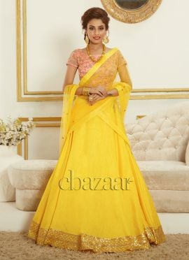Bollywood Vogue Embroidered Choli N Plain Lehenga