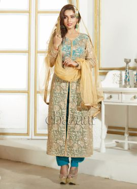 Bollywood Vogue Front Slit kameez With Cowled Pati
