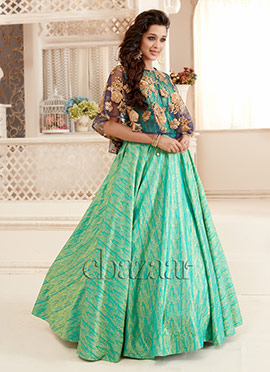 Bollywood Vogue Green N Blue Cape Suit With Skirt