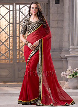 Bollywood Vogue High Neck Blouse And Red Saree