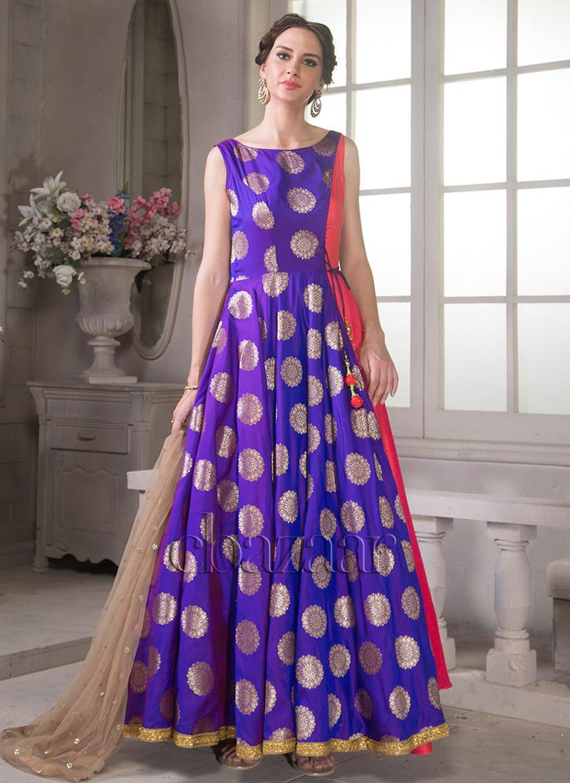Shop EthnoVogue Dark Blue Brocade Indowestern Gown | Ready to wear dresses  for women - IWBV1712238746529R