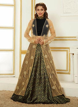 Bollywood Vogue Jacket Style Crop Top N Skirt