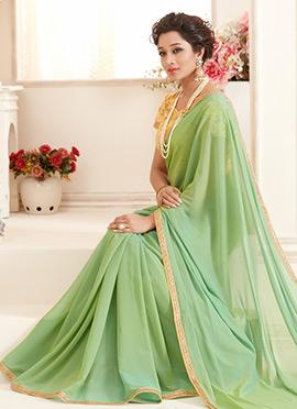 Bollywood Vogue Light Green Georgette Border Saree
