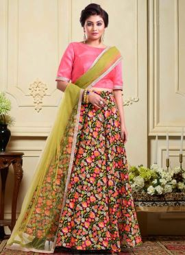 Bollywood Vogue Multicolor Embroidered Lehenga