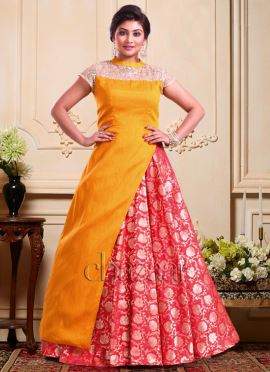 Bollywood Vogue Mustard Yellow N Red Lehenga Set