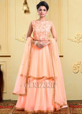 Bollywood Vogue Peach Long Choli Lehenga Set