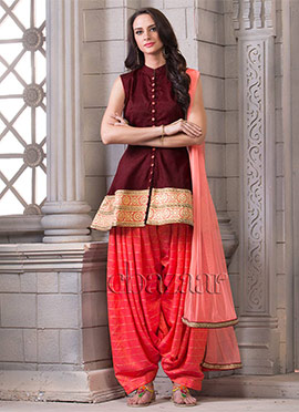 Bollywood Vogue Peplum With Salwar And Dupatta