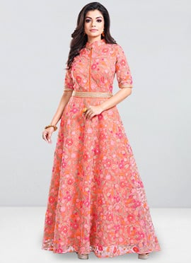 Bollywood Vogue Pink High Neck Anarkali Gown