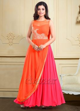 Bollywood Vogue Pink N Orange Drape Gown