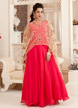 Bollywood Vogue Pink Cape Style Gown Set