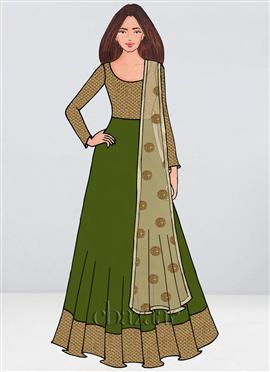 Bollywood Vogue Pinkish Green Anarkali Suit