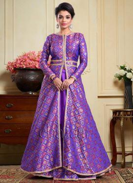 Bollywood Vogue Purple Brocade Jacket N Lehenga