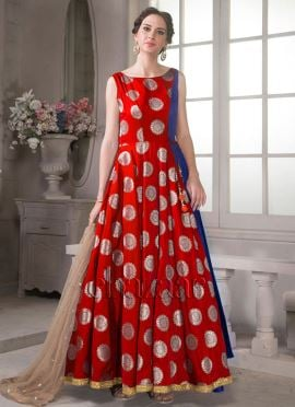 Bollywood Vogue Red Indowestern Gown