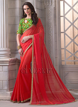 Bollywood Vogue Saree With Embroidered Blouse