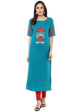 Bondi Blue Embroidered Viscose Long Kurti