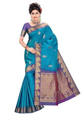 Bondi Blue Pure Kancheepuram Silk Saree