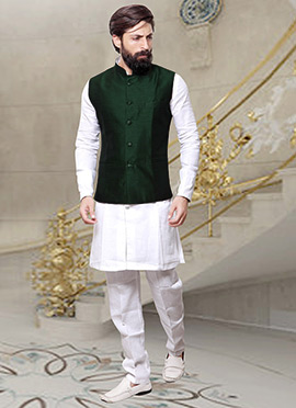 Bottle Green Art Silk Nehru Jacket
