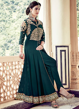 Bottle Green Georgette Anarkali Suit