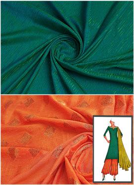 Bottle Green N Orange Long Kurta Palazzo Suit