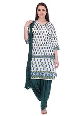 Bottle Green N White Pure Cotton Patiala Suit
