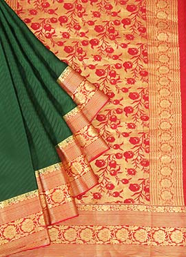 Bottle Green Pure Mysore Silk Jacquard Saree