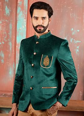 Bottle Green Velvet Bandhgala Jacket