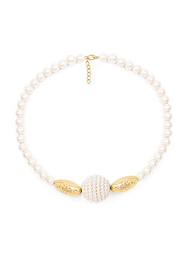 Brass White Pearl Necklace Set