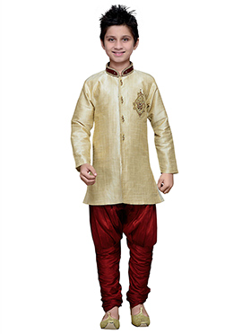 Breeches Style Beige Hand Work Art Silk Boys Sherw