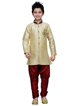 Breeches Style Beige Hand Work Art Silk Teens Sherwani