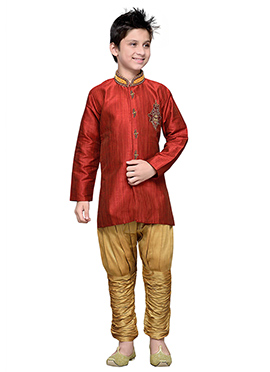 Breeches Style Coral Red Hand Work Boys Sherwani