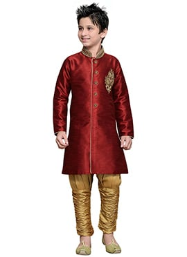 Breeches Style Deep Red Hand Work Boys Sherwani