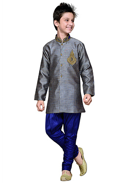 Breeches Style Grey Hand Work Art Silk Teens Sherwani