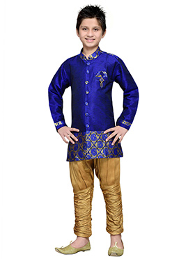 Breeches Style Hand Work Royal Blue Boys Sherwani