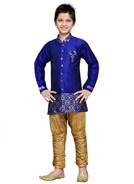 Breeches Style Hand Work Royal Blue Teens Sherwani