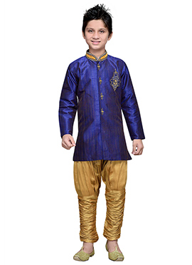 Breeches Style Indigo Blue Hand Work Boys Sherwani