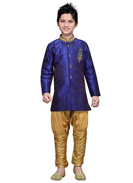 Breeches Style Indigo Blue Hand Work Teens Sherwani
