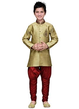 Breeches Style Mehendi Green Hand Work Boys Sherwani