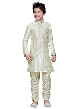 Breeches Style Off White Hand Work Boys Sherwani