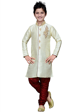 Breeches Style Off White Hand Work Teens Sherwani