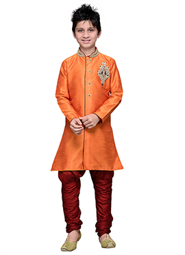 Breeches Style Orange Hand Work Art Silk Boys Sherwani
