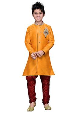 Breeches Style Orange Hand Work Art Silk Teens Sherwani