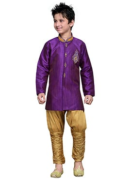 Breeches Style Purple Hand Work Art Silk Boys Sherwani