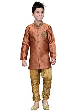 Breeches Style Rust Hand Work Art Silk Boys Sherwa