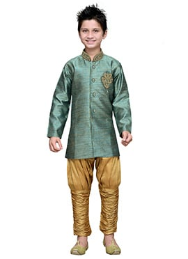 Breeches Style Sea Green Hand Work Boys Sherwani