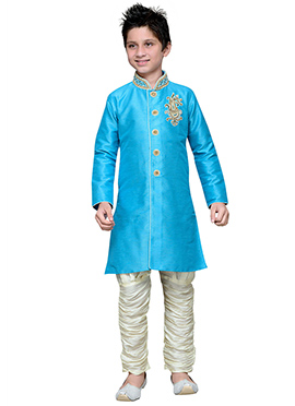 Breeches Style Sky Blue Hand Work Boys Sherwani