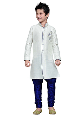 Breeches Style White Hand Work Art Silk Boys Sherwani